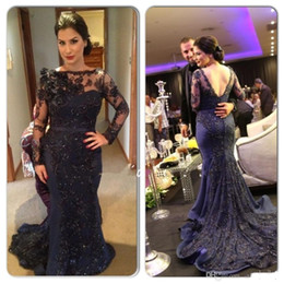 Wholesale Ruffle Halter Bride - 2016 Autumn Winter Long Sleeves Lace Mother of bride Dresses Dark Navy Mermaid Formal Evening Gowns Applique Sheer Backless Prom Dress