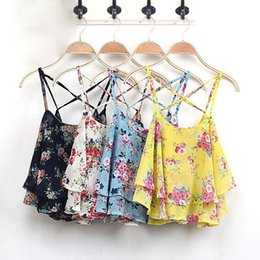 Wholesale Crop Tops Free Shipping - Feitong 4 Colors Women Summer Clothing Spaghetti Strap Floral Print Chiffon Shirt Vest Blouses Crop Top Free Shipping&Wholesales