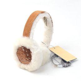 Wholesale Sheepskin Earmuffs - Wholesale-int'l Brand 12 colors Australian Wired Earmuffs Genuine Sheepskin Woman Ear Muff shearling Wool Winter Warm Sequin Earmuffs