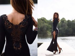 Wholesale Burgundy Lace Trim - Sexy 2016 High Slit Evening Dresses Formal Dresses Crew Trimmed Tight Long Sleeves Celebrity Evening Dresses with Lace Sheer Back