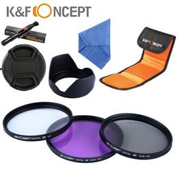 Wholesale 58mm Cpl Uv Lenses - K&F Concept 58MM UV CPL FLD Filter Kit Lens Hood Cap For Canon EOS 650D 600D 550D 450D 350D Rebel T4i T3 T3i T2i T1i XSi 18-55 A5