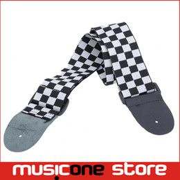 Wholesale Real Tapes - 5pcs Black White Guitar Strap Tape Acoustic Bass Electric Checkered Nylon Real Leather Ends MU0627