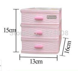 Wholesale Desktop Drawers - Free Shipping High-grade 1set 3 Layer Fashion Pink Mini Plastic Storage Box S Jewelry Drawer desktop storage cabinets parts boxs