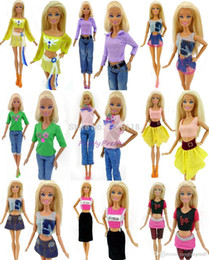Wholesale Doll Ceramic - One Lot = 5 Sets Randomly Pick Fashion Lady Outfit Fashion Wear Blouse Trousers Shorts Pants Skirt Clothes For Barbie Doll