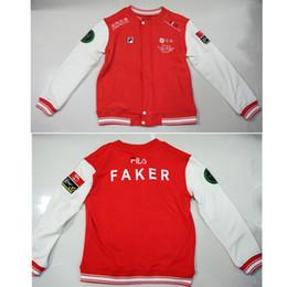 Wholesale Tv Game Player - Game LOL World Champion S6 Team SKT T1 Players Uniform Embroidery FAKER Fleece Baseball Jacket Men's Top M-3XL