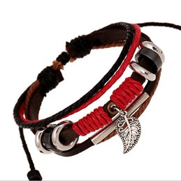 Wholesale Wholesale Bead Strap Bracelets - woMen Bracelet HOT Bohemia Ethnic Fashion Red Crystal Bracelet Multilayer Genuine Leather Strap Round Beads Bracelet Bangle mens bracelets
