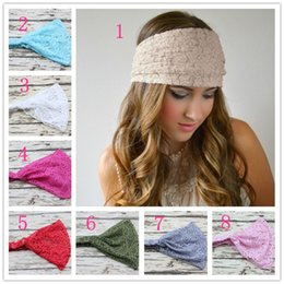 Wholesale Girls Hair Simple Headbands - Western lady girl fashion style lace headbands headwear girl simple solid hairband 8style choose Stretch elastic gift hair accessories 30pcs