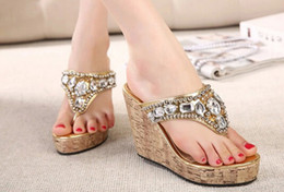 Wholesale Rubber Clogs Women - 2015 Hot Sale New Arrival Silver Gold Women Summer Fashion Crystal Sandals Rhinestone Beaded High-heeled Clogs Flip-flop Women's Wedges