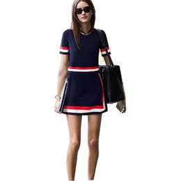 Wholesale 2015 Autumn Women Casual Mini Stripe SKirt Suits Knitted Wool Sweater Short Sleeve Tops Pencil Skirt Sets Navy Blue Female