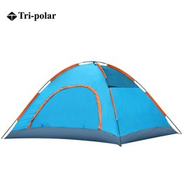 Wholesale One Polar - Wholesale- Tri-polar Outdoor Portable Beach Tent Waterproof Double Layer 2 3 Person Outdoor Camping Tent Hiking Beach Tent Double door