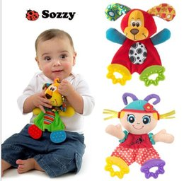 Wholesale Baby Soft Sounds - Sozzy Soft Baby Handkerchief Toy Teether Crinkle Sound Rattle Plush Toy Girl Dog Comfort Appease Playmate 23*18CM