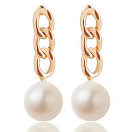 Wholesale Wholesale Big Pendants For Earrings - Fashion Gold Link Drop Earrings New Hot Big Pearl Pendant Jewelry Earrings For Women Dress Pary Earring