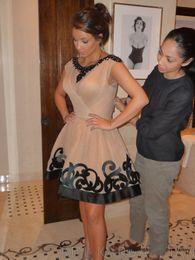 Wholesale Kim Kardashian Summer Cocktail Dresses - Cocktail Dresses Kim Kardashian Champagne Tulle Black Beading Cap Sleeves A-line Short Mini Party Dress Free Shipping 2015 New Arrival