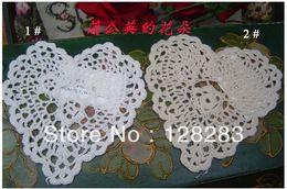 Wholesale Doily Hearts - Wholesale-Hot wholesale valentine day gift 100% cotton handmade crochet Heart shape Coaster Doily,15CM ,cup mat 24PCS LOT Whtie and Ecru