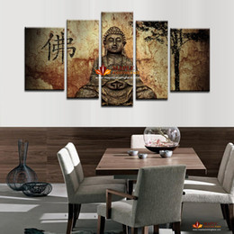 Wholesale Fashion Room Decor - 5 Piece Canvas Wall Art Buddha Painting On Canvas Abstract Print Pictures Home Decor Wall Pictures For Living Room picture on wall