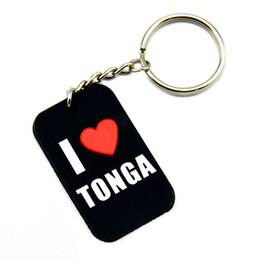 Wholesale dogs silicone tags - Wholesale 50PCS Lot I Love Tonga Silicone Dog Tag Keychain Perfect To Use In Any Benefits Gift