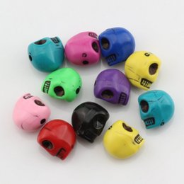 Wholesale plastic oval beads - Hot ! 200Pcs Mix Color Acrylic Skull Spacer beads 12MM fit beaded bracelet DIY Jewelry