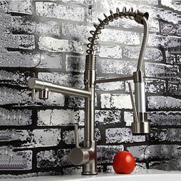Cepillo de salida online-Venta al por mayor y al por menor de lujo níquel cepillado grifo recipiente fregadero de la cocina grifo mezclador grifo doble caño giratorio grifo