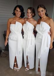 Wholesale Split Front Strapless Wedding Dress - Modest White Long Bridesmaid Dresses Sheath Front Split Pleats Satin 2018 Beach Wedding Party Gowns Maid of Honor Plus Size Bridesmaid Gown