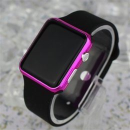 Wholesale Wholesale Face Mirrors - Square Led Digital Electronic LED Watch Red Light For Women Men Sports LED Square Mirror Face Alloy electroplate Shell Bracelet Watch