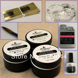 Wholesale Acrylic Starter Set - Wholesale-Free shipping Liquid Basic Starter Kit Acrylic-pulver Acrylic Powder Brush for 3D Nail Art Full Set