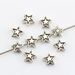 Wholesale Tiny Silver Beads - Hot ! 300Pcs Antique silver Tiny Lovely Star Spacer Beads DIY Jewelry 7mm