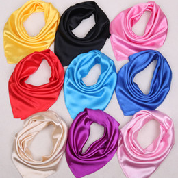 Wholesale Silk Satin Head Scarves - Women's Satin Silk Square Scarf Wrapped Neck Head Wrist Multi-functional 60*60cm Solid Plain Scarf Women Fashion Soft Wrap