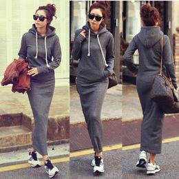 Wholesale Pullover Fashion - Hot Fashion Autumn Fall Winter Women Black Gray Sweater Dress Fleeced Hoodies Long Sleeved Slim Maxi Dresses S M L XL XXL Winter Dress M176
