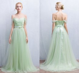 Wholesale Mint Green Girl Dress Fashion - Mint Green Off The Shoulder evening dresses Ruffled Lace Up Tulle Formal Bridesmaid dress Girls dress For Party
