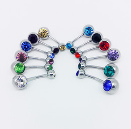 Wholesale Multi Pierced Navels - Hot Popular Multi-Colored Crystal Rhinestone Surgical Steel Belly Button Navel Rings Piercing Bar Fashion Lady Jewellery 10 Colors