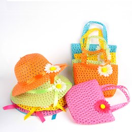 Wholesale Children Straw Hat Bag - Girls Kids Beach Hats Bags Flower Straw Hat Cap Tote Handbag Bag Suit Children Summer Sun Hat free shipping TY1242