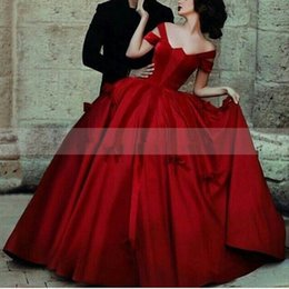 Wholesale Designer Style Long Sleeve Dresses - Red Formal Dubai Evening Gowns 2015 New Ball Gown Off The Shoulder Short Cap Sleeves Long Arabic Style Designer Prom Dresses