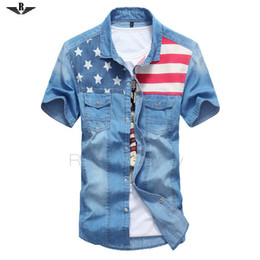2019 новый мужской дизайн Оптовая-2015 летний стиль мода твердые с короткими рукавами рубашки флаг мужской повседневная фитнес Camisa джинсы Masculina отложным джинсовая рубашка