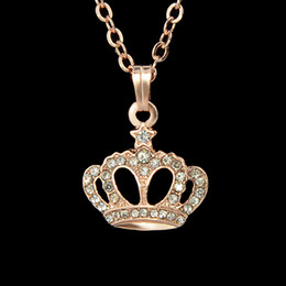 Wholesale Tin Perfume - Accessorios Para Mulher Gold color Alloy Chain Rhinestone Pendant Necklace For Women Perfumes Femininos