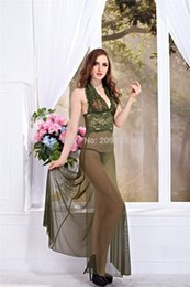 Wholesale Type Sleepwear - w1023 Sexy Lingerie Sexy lace halter lace type double vented perspective long nightgown Sleepwear costume