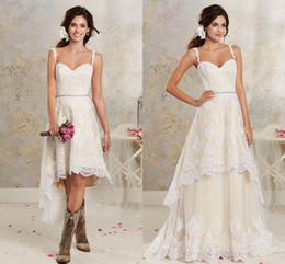 Wholesale High Low Detachable Dress - Casual Light Champagne Lace High Low Country Wedding Dresses 2016 Cheap Spaghetti Applique Beaded Sash With Detachable Skirt EN3046