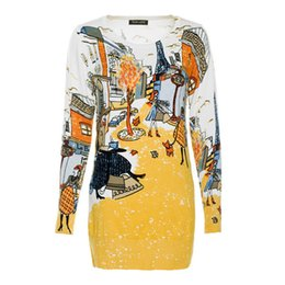 Marca Fashion Straight Work Wear Mujeres Fashion Block Color Amarillo manga larga Paris Print Casual Paris Print Sweater Mini vestido FG1510 desde fabricantes