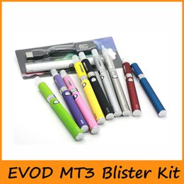 Wholesale Clearomizer Battery Glass - New EVOD MT3 Blister Kit Evod Starter Kit With Evod Battery Mt3 Atomizers Clearomizer Rechargable 650mah 900mah 1100mah Mix colors Available