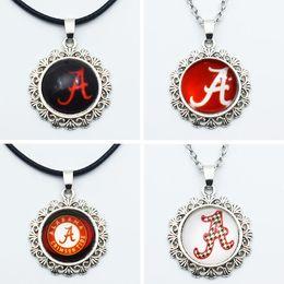 Wholesale alabama charms - 10PCS NCAA Alabama Sports Team Round Charm Pendant Necklace Jewelry 20mm Glass Time Gem For Fans Sports Pendant Necklace