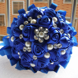 Wholesale Pearl Crystal Wedding Bouquets - Gorgeous Wedding Flowers Ramos De Novia Elegant Pearl Bride Bridesmaid Wedding Bouquet Crystal Sparkle 2015 New Bouquets