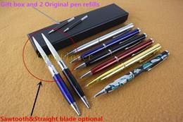 Wholesale Multi Knifes - NEW 2in1 Multi-function Ballpoint pen knife Self Defense Ballpoint Pen knife Letter opener knives Tactical Hidden Knife Pen 001TYPE