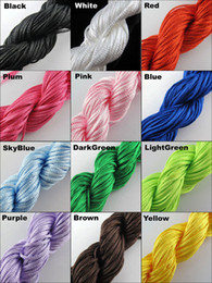Wholesale Wholesale Chinese Knotting Cord - Bulk 1Roll 20 meters 22Yd 1mm Nylon Cord Thread Chinese Knot Macrame Shamballa Bracelet String -- 12 Colors For Choose