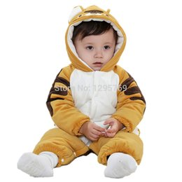 Wholesale Tiger Leotards - 2015 Spring autumn new kids baby fashion plaid hooded long sleeve cute tiger style leotard rompers one-pieces MY322