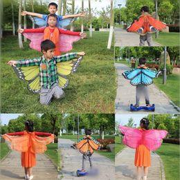 Wholesale Chiffon Small Shawl - Kids Butterfly Beach Towel 118*48cm Irregular Chiffon Towel Shawl Butterfly Printed Peacock Shape Scarves Sand Towel 14 Styles OOA3340