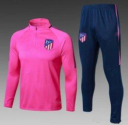 Wholesale F Train - HOT 17 18 Atletico Madrid tracksuit soccer Training suit soccer wear aduit 2017 2018 GRIEZMANN F TORRES KOKE Madrid football jacket sets