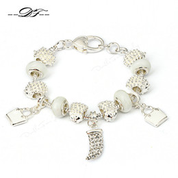 Wholesale Crystal Glass Rocks - 2015 New European Style Silver Plated Charm Bracelets & Bangles With Glass Beads Rock Fashion Crystal Jewelry for Women PH012