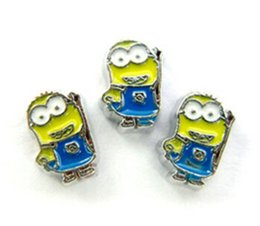 Wholesale Slide Enamel - High Quality 20PCS lot Enamel Minions Floating Charms DIY Alloy Accessories Fit For Glass Living Locket