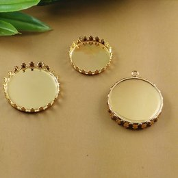 Wholesale Copper Pendant Trays - (50 pcs lot) 20 25mm Round crown pendant tray copper gold plated pad stamping blanks DIY base cameo for jewelry making cy1061