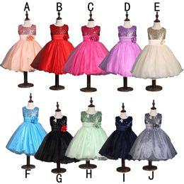Wholesale Kids Belts Wholesale - girls formal 3d flower dress princess party bow kids sequin dress sleeveless gown dresses flower belt red blue 2 colors free shipping