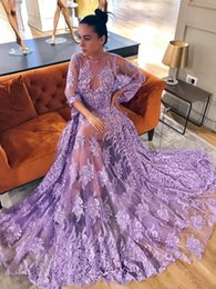 Wholesale Lace Dress Bateau Floor Mermaid - 2018 Fashion Sexy Lavender Prom Dresses Crew Neck Sheer Long Sleeves Evening Gowns With Lace Applique Beads